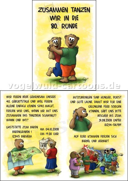 Einladungen Tanzbären. Wenn Zwei Tanzbären Gemeinsam Einen Runden Geburtstag  .