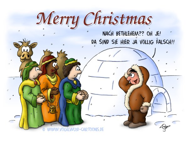 Weihnachtskarte eskimo nach bethlehem oh je da sind sie hier ja